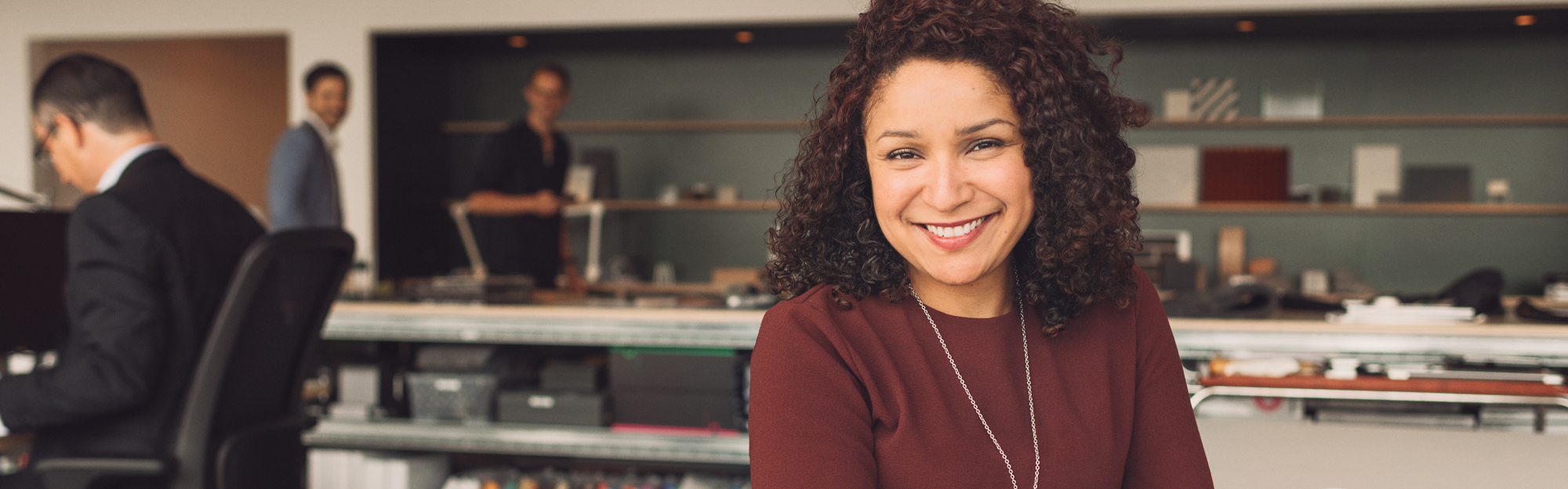 Business woman in office.